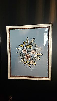 framed picture floral embroidery and felt