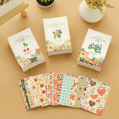 52X DIY Craft Kawaii Sticker Vintage Sticky Paper for Scrapbooking Decoration OZ