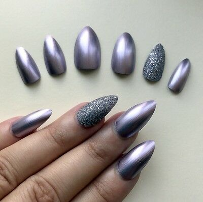 Hand Painted False Nails Stiletto (Or Any Shape) Satin Princess Purple Silver