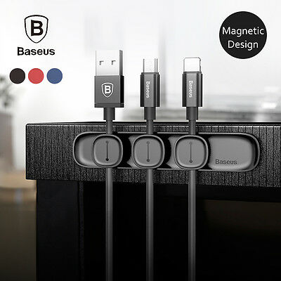 Baseus Magnetic Cable Clip Organizer Wire Cord Management Winder Line Holder Hot