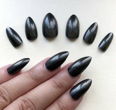 Hand Painted False Nails Stiletto (Or Any Shape) Gun Metal Grey