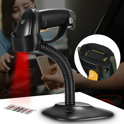 Laser Barcode Scanner USB Automatic Bar Code Scan Reader With Stand Handheld POS