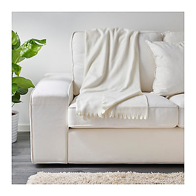 IKEA Throw Blanket Rug Snuggle Sofa Lounge Couch Bed Warm WhiteFleece Soft Cover