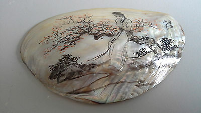 Antique Chinese painted mother of pearl shell, signed!