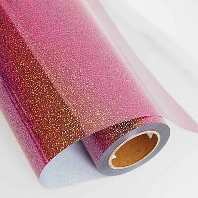 """HOLOGRAPHIC PINK HEAT PRESS TRANSFER VINYLl for T-SHIRT 20"""" WIDE IRON ON"""