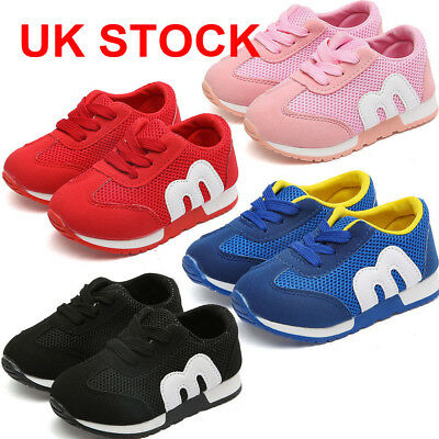 Uk Kids Sport Running Shock Absorbing Boys Girls Infants Lace Up Shoes Trainers