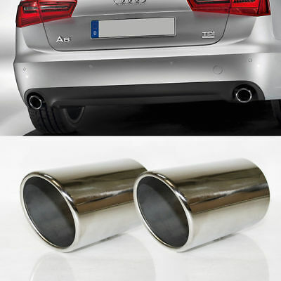 2x Sport Chrome Exhaust Pipe Muffler Trim Tail Tip Stainless Steel Fits Audi A6