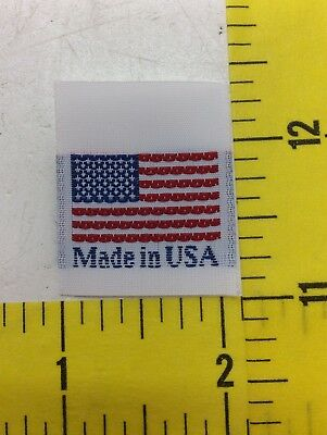 500 'MADE IN USA'  & American Flag Tags, Woven Garment Sewing Labels