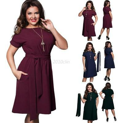 Plus Size Women Evening Party Prom Gown Formal Bridesmaid Cocktail Dress w/Belt