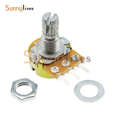 2PCS 100K ohm Linear Taper Rotary Potentiometer Panel pot B100K 15mm WH148 3 Pin