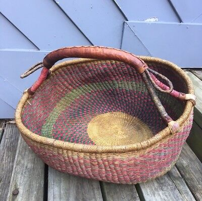 Large Woven Carry Basket - African Tribal - Leather Handle & Trim