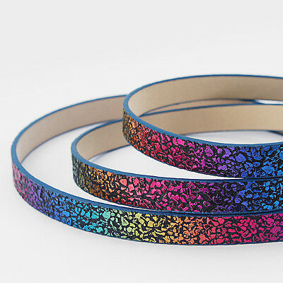 1 Meter High Quality Flat Colorful Sparkling PU Leather/Faux Leather Cord 10*2mm