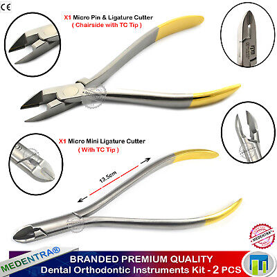 Orthodontics Wire Cutter Dental Mini Ligature and Pin Hard Wire Chairside TC 2PC