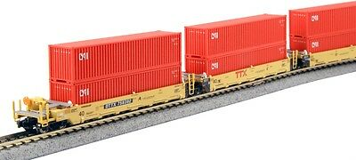 Kato N 1066193 Gunderson Maxi-I 5-Unit Double-Stack Well Car with 10 40'
