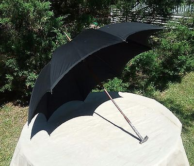 Very Rare Antique Isaac Smith Umbrella With Ornate Sterling Handle Pat.date 1886