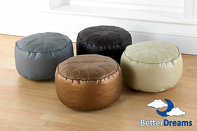 Faux Leather Moroccan Footstool/Pouffe/Bean Seat Fully Filled Various Colours