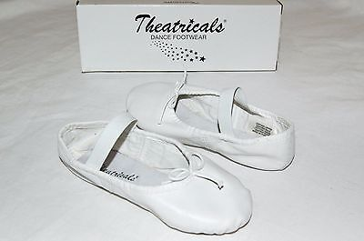 Child's White Full Sole Leather Ballet Shoe THEATRICALS Dance Footwear size 11