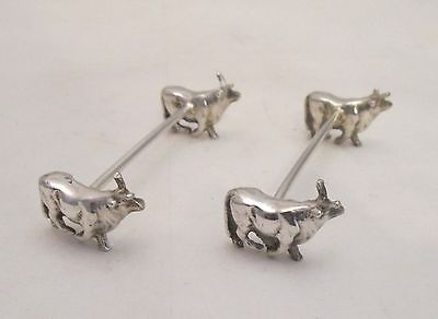 A Pair of Silver Plated Novelty Knife Rests - Bulls / Cattle / Cows