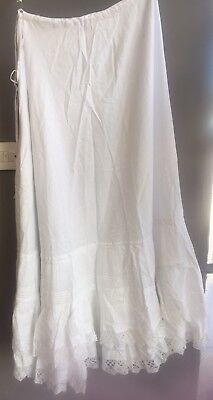 Vintage Antique Victorian Cotton Petticoat With Train Pintuck And Crocheted Lace