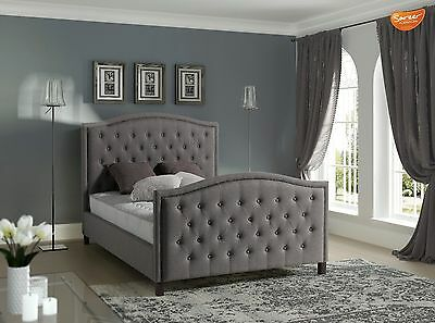 Grey Chesterfield Upholstered Bed Frame Studded Kingston 4FT 6 Double ONLY £289!