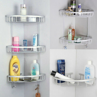 1-3 Tier Shower Bathroom Shelf Corner Rack Organiser Caddy Storage Basket Hanger