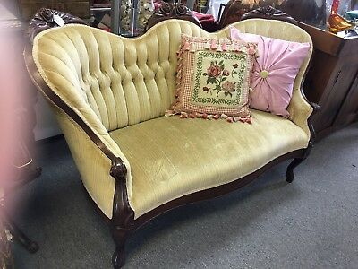 Victorian Hand Carved Solid Mahogany with Cameo Back Love Seat Settee