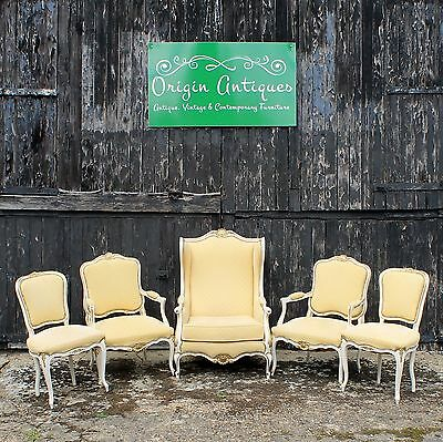 Suite of Five French Rococo Style Salon Chairs with Upholstered and Padded Seats
