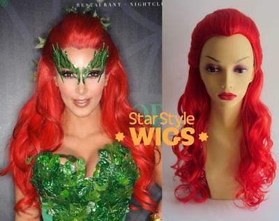 Deluxe Halloween Poison Ivy Kim Kardashian Long Red Curly Costume Wig
