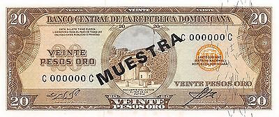 Dominican Republic 20 Pesos Oro  ND.1964 Specimen Series C Uncirculated Banknote