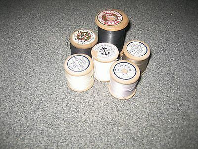 Six Wooden Cotton Reels with Usable thread
