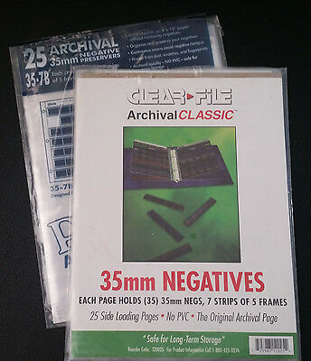 35mm Clear Negative Storage Sleeves (29 total) Archival PrintFile & ClearFile