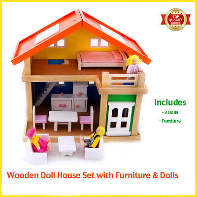 Wooden Doll House Set 2 Storey Pretend Dollhouse + Dolls + Furniture Non-toxic