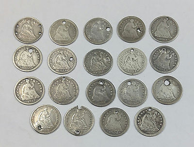 U.S. Silver Seated Liberty Half Dimes (19) - all holed - free shipping