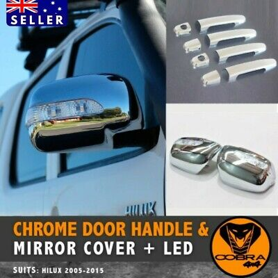 Chrome Silver Toyota Hilux Mirror covers Indicators LED 05-11 FREE Door Handles