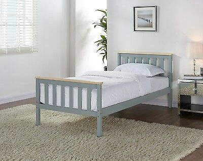 Grey Solid Pine Wooden Bed Frame Pine Double Single Size Mattress Option