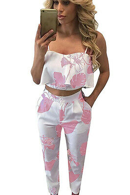 Abito Set Top pantaloni aderente Stampato Party Cocktail Casual Print Dress M