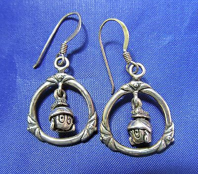 Marvin The Martian sterling SILVER EARRINGS dangle 1990s Looney Tunes *SALE*