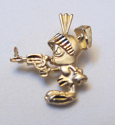 Marvin The Martian solid 14 kt yellow gold charm pendant 1990s 14k FREE SHIP