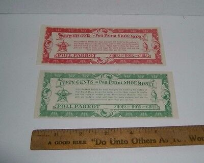Vintage POLL PARROT SHOE MONEY Coupons 50 cents and 25 cents
