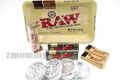 New Raw Black 1.25 1 1/4 Rolling Paper  Raw Tray Deal With 4 Piece Grinder