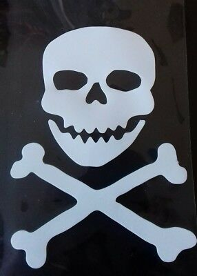 Hotfix iron on transfers White Skull and Crossbones size 12cm x10cm