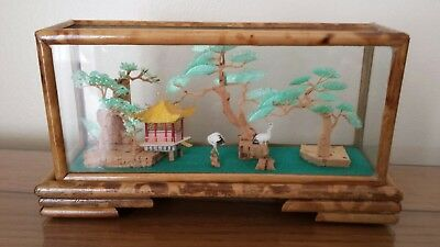 Oriental/Chinese Cork Art Diorama/Display Box 3D Bamboo? Framed