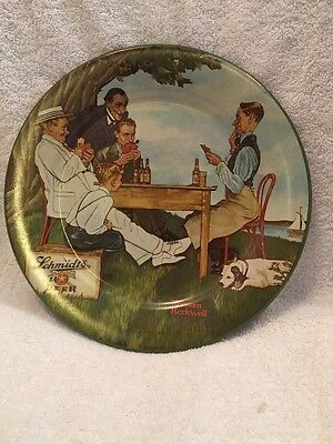 "Norman Rockwell Metal Plate ""The Winning Hand"" Schmidts Beer Playing cards Poker"