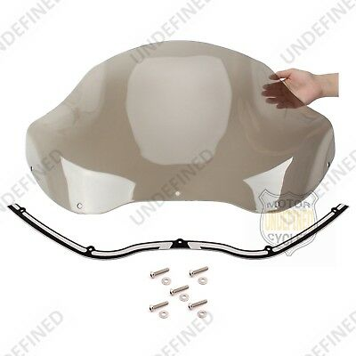 "13"" Light Smoke Windshield + Black CNC Trim For Harley Road Glide FLTR 1998-2013"