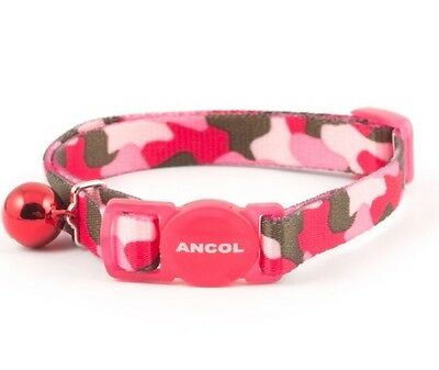 Ancol Pink Camo Cat Collar with Bell & Safety Buckle