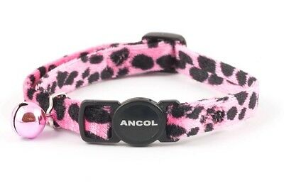 Ancol Velvet Leopard Print Pink Cat Collar with Bell & Safety Buckle