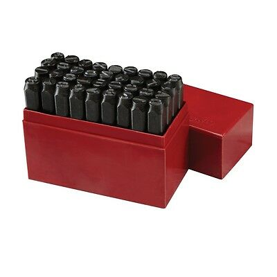 "3/8"" Letter & Number Stamp & Punch Set Heavy Duty Black Tempered Steel in Case"