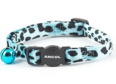 Ancol Velvet Leopard Print Blue Cat Collar with Bell & Safety Buckle