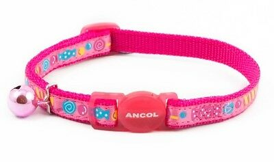 Ancol Super Cute Pink Candy Cat Collar with Safety Buckle & Bell
