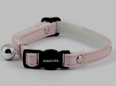 Ancol Diamonte Effect Light Pink Cat Collar with Bell & Safety Buckle